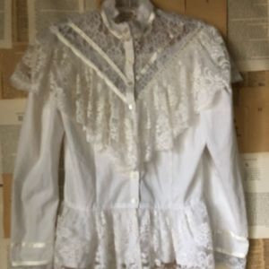 Vintage 70s Gunne Sax White Lace Cotton Blouse 14